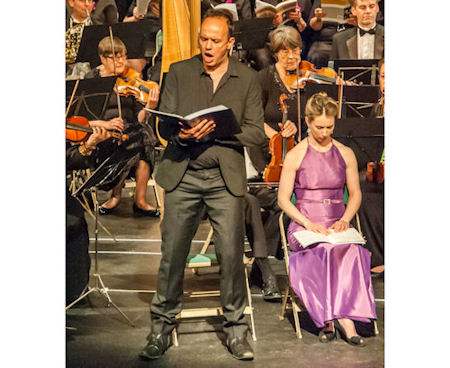 Picture showing Baritone soloist singing (Mike Dewis)